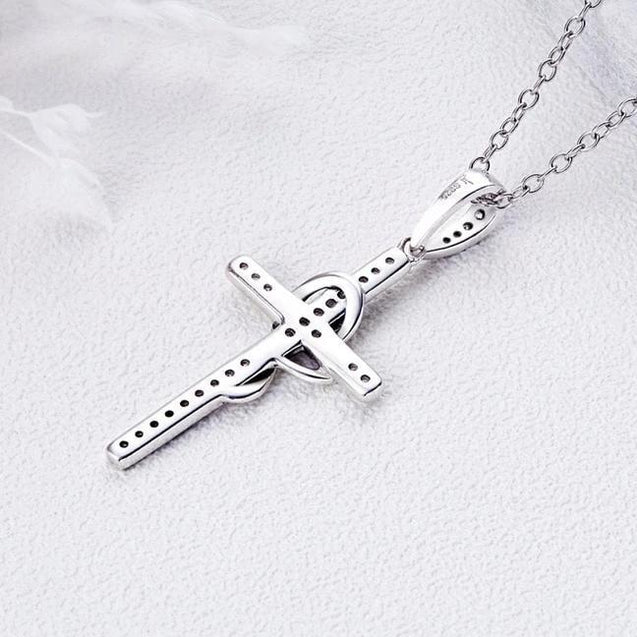 925 Sterling Silver Cubic Zirconia Cross Pendant Necklace - InnovatoDesign