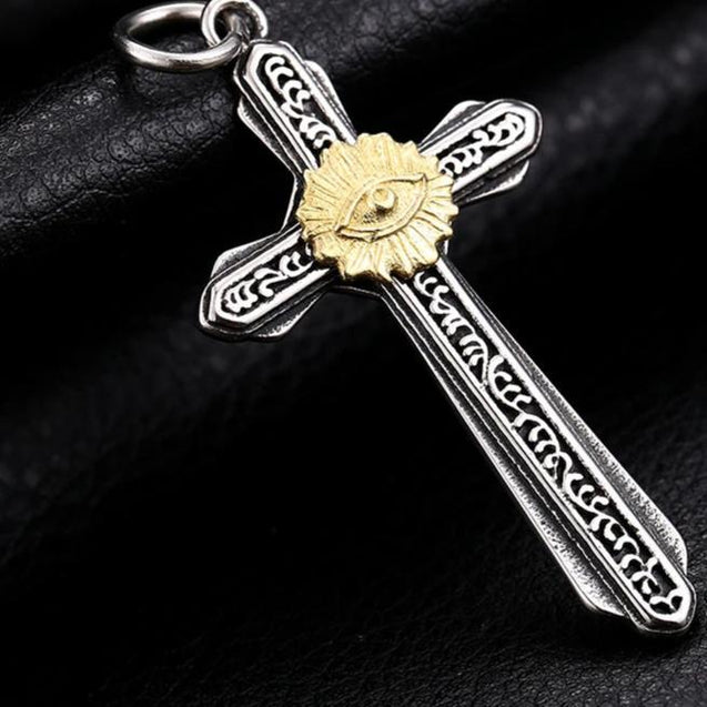 Gothic Two-tone Eye in Cross Pendant with Chain Necklace - InnovatoDesign