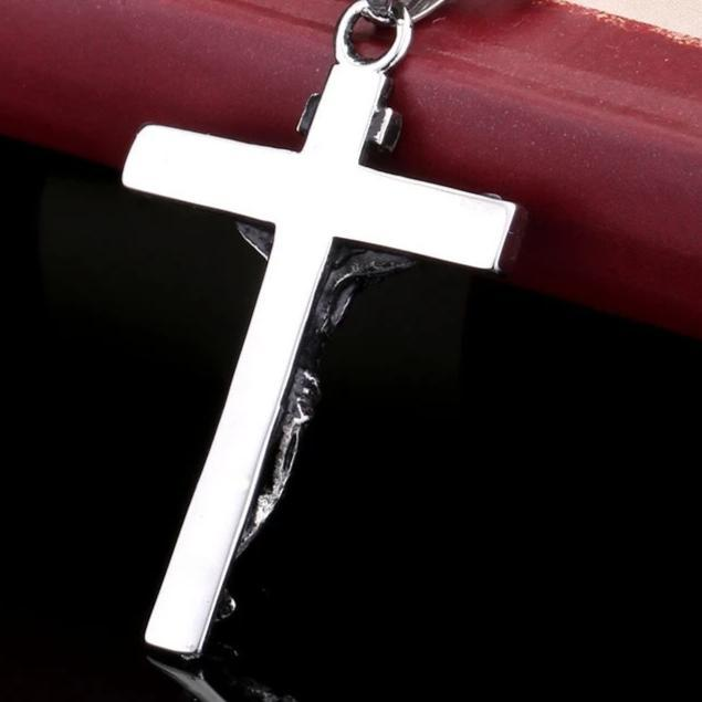 Jesus Christ on Crucifix Catholic Pendant with Ball Chain Necklace - InnovatoDesign