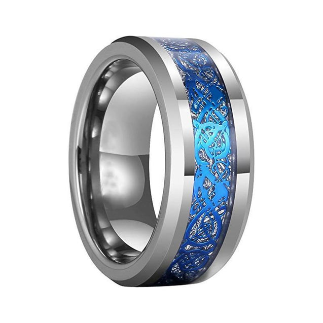 Silver Tone Tungsten Carbide Ring with Blue Dragon Meteorite - InnovatoDesign
