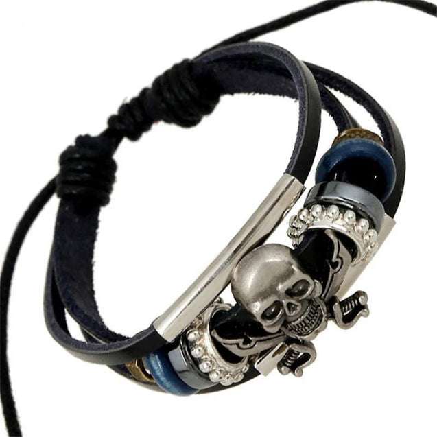 Black Genuine Leather Punk Skull Beaded Bracelet - InnovatoDesign