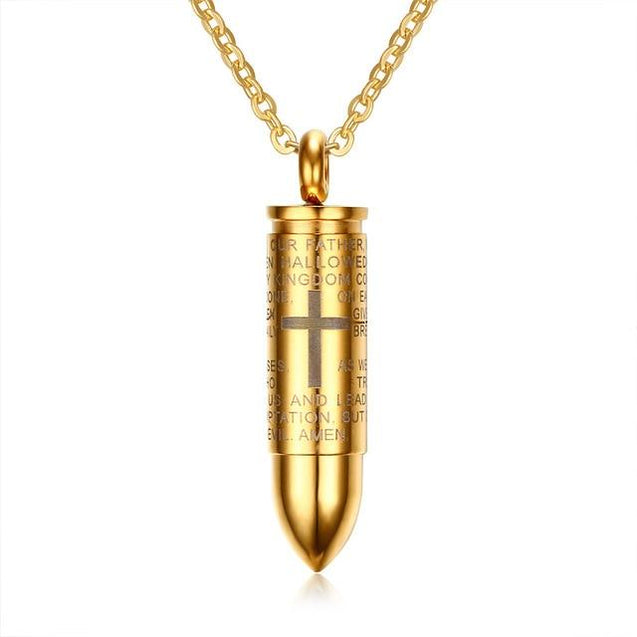 Urn Bullet Pendant with Cross and Lord's Prayer Necklace - InnovatoDesign