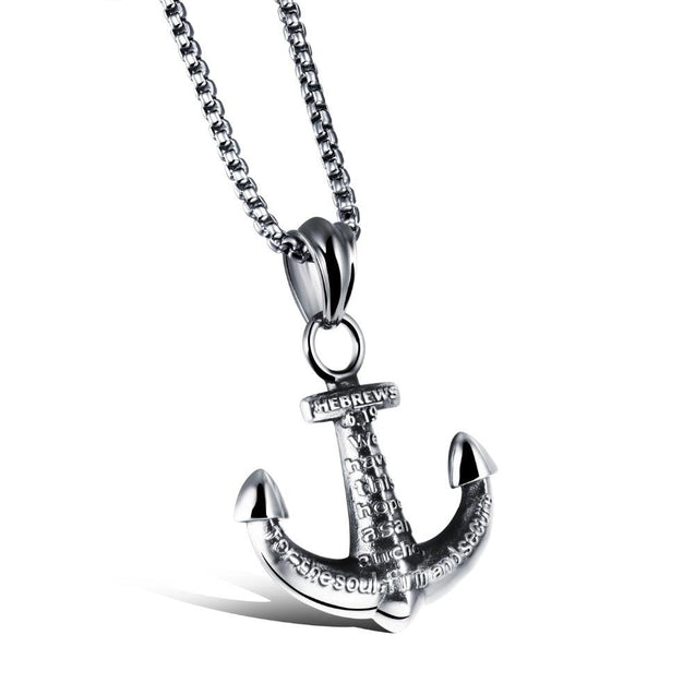 Silver Engraved Anchor Pendant and Chain Necklace - InnovatoDesign