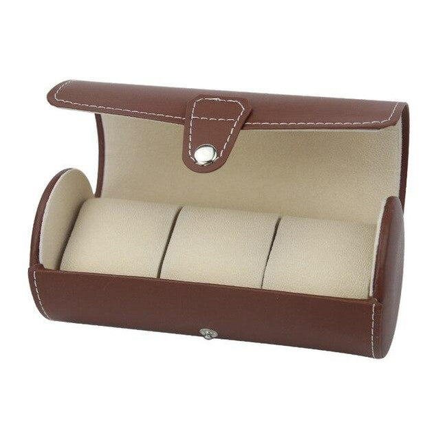 Brown Leather Watch and Jewelry Travel Case - InnovatoDesign