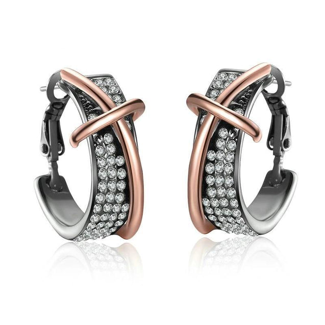 Luxury Rose Gold & Black Cross Hoop Earrings with Zirconia - InnovatoDesign