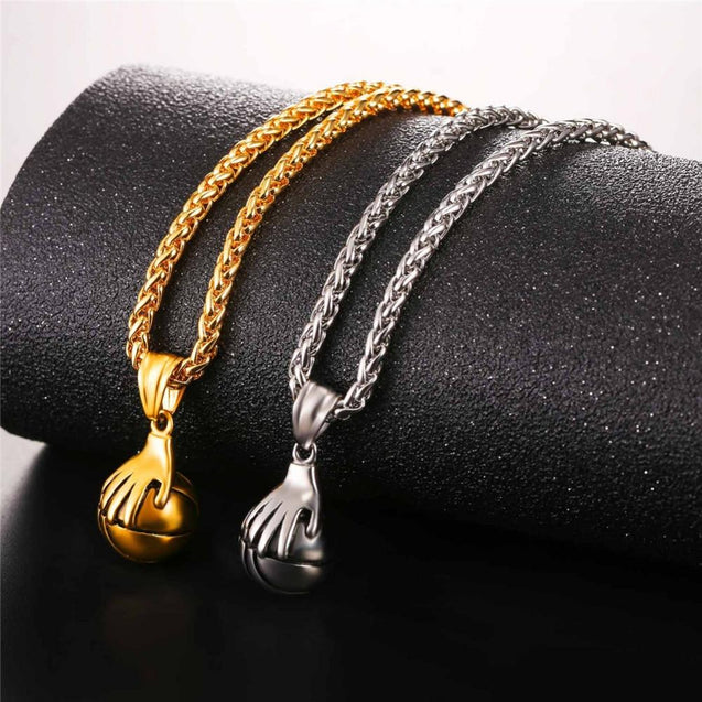 Metallic Hand on Basketball Pendant and Chain Necklace