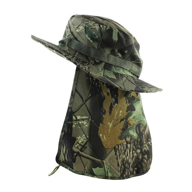 Camouflage UV Protection Boonie Bucket Flap Hat with Rope