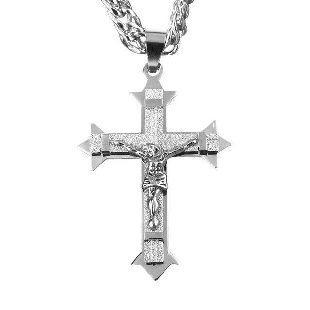Large Stainless Steel Gold Tone Cross Pendant Necklace - InnovatoDesign