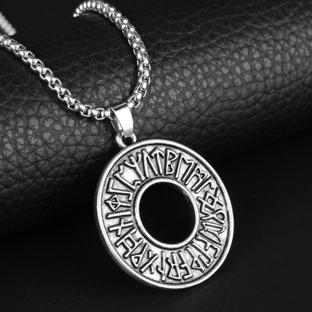 Hollow Circular Silver Rune Pendant with Odin's Symbol - InnovatoDesign