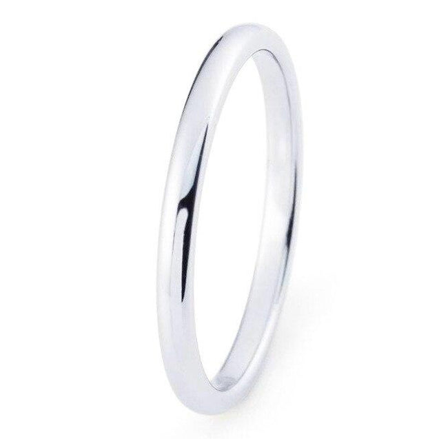 2mm Domed Tungsten Carbide Wedding Ring