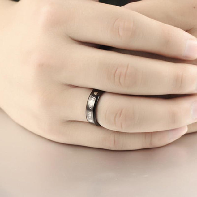 Black Stainless Steel with Forever Love Engraved Couple Ring - InnovatoDesign