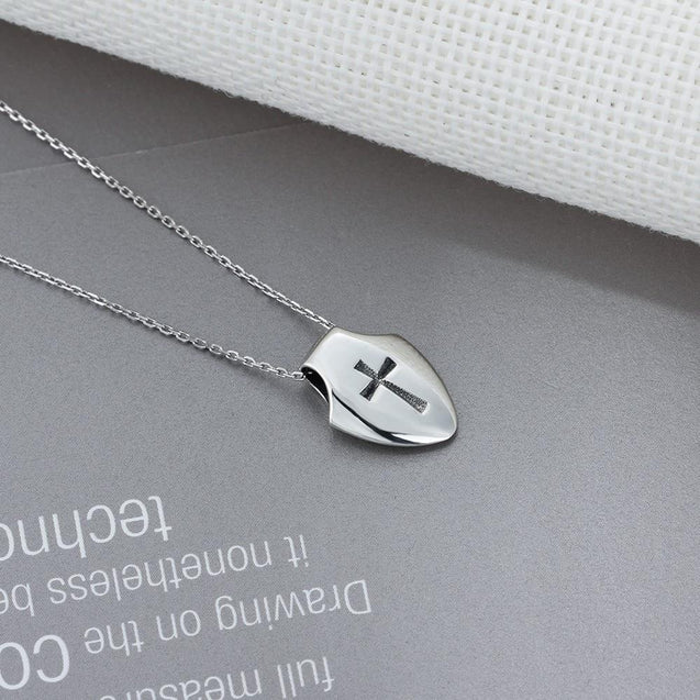 Stainless Steel Silver Shield and Cross Pendant Necklace - InnovatoDesign