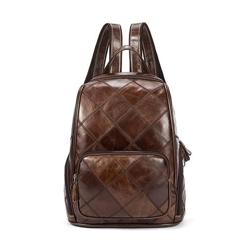 Brown Leather School Bag with Plaid Design - InnovatoDesign