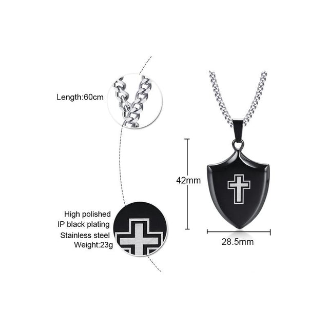 Polished Black Shield of Faith Cross Pendant and Silver Necklace - InnovatoDesign