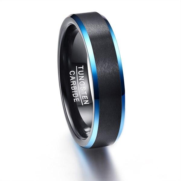 Black Tungsten Carbide with Blue Outer Inlay Slim Type Wedding Band - InnovatoDesign