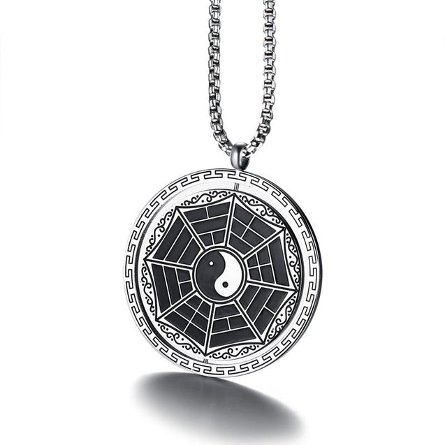 Tai Chi Yin and Yang Zodiac Stainless Steel Rotatable Necklace - InnovatoDesign