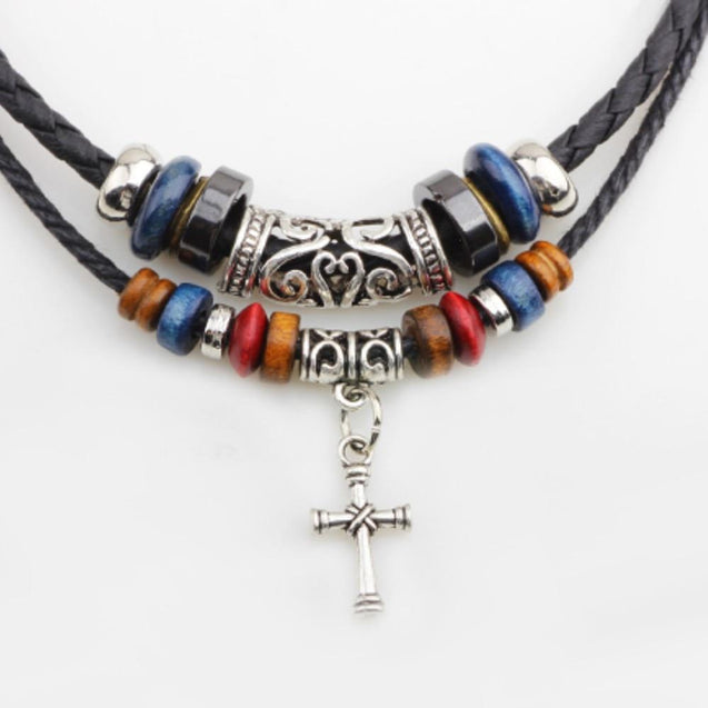 Beaded Knotted Leather Choker Necklace with Silver Cross Pendant Necklace - InnovatoDesign