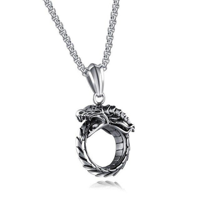 Steel Skeletal Type Dragon Ring Pendant Necklace - InnovatoDesign