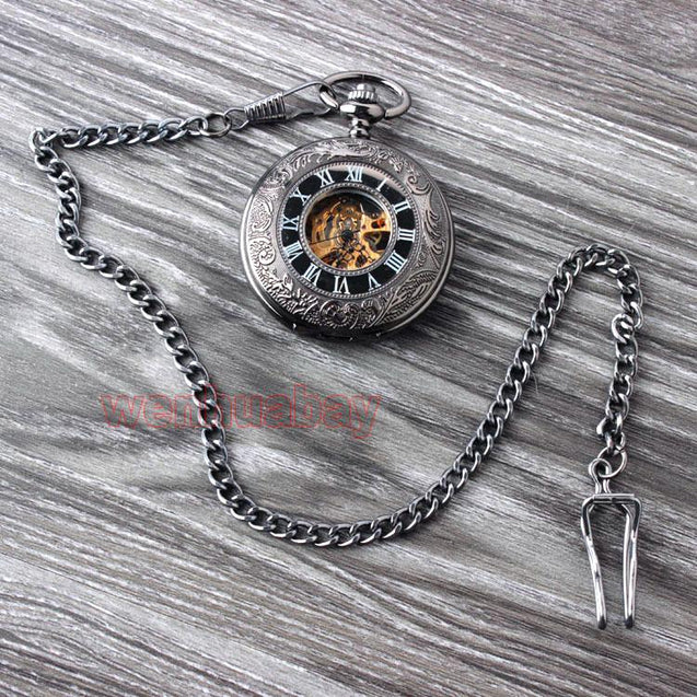 Floral Steel Quartz Mechanical Pocket Watch with Fob Chain - InnovatoDesign
