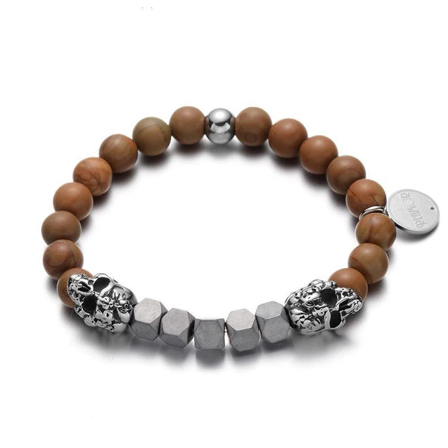 Natural Brown Wood and Iron Stone Skulls Bracelet for Men - InnovatoDesign