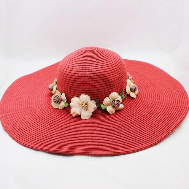 Floppy Wide Brim Sun Hat with Organza Flowers