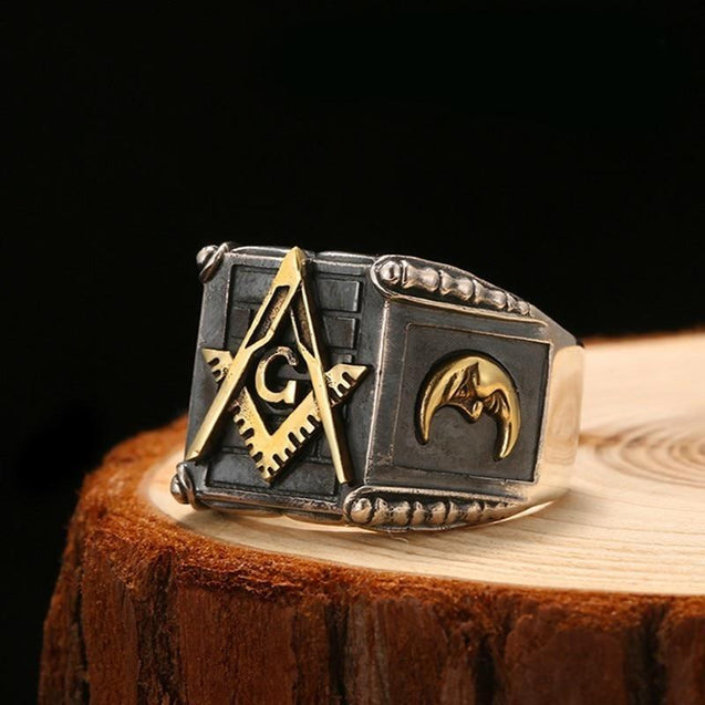 925 Sterling Silver Masonic Ring with Black and Gold Plated G Symbol, Sun & Moon - InnovatoDesign