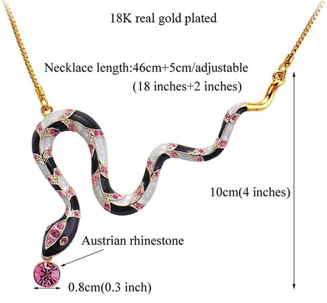 Snake Necklace with Red Australian Rhinestone - InnovatoDesign