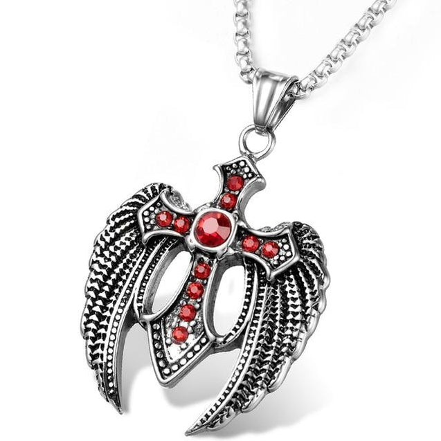 Angel Wings Steel Cross with Ruby Crystals and Chain Necklace - InnovatoDesign