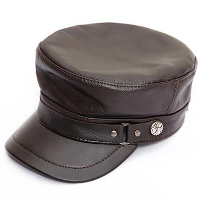Genuine Leather Flat Top Snapback Military Hat