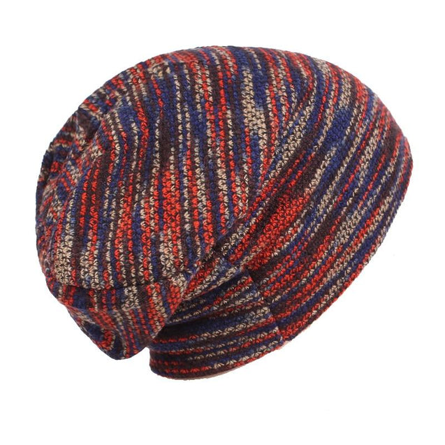 Baggy Striped Wool Bonnet, Beanie, Skullie or Knit Hat