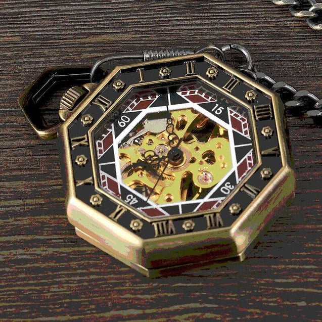Hexagonal Brass Pocket Watch with Red, Black, and Gold Details - InnovatoDesign