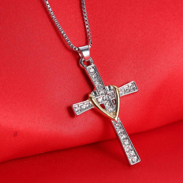 Two-Tone Silver and Gold Jeweled Cross Pendant Necklace - InnovatoDesign