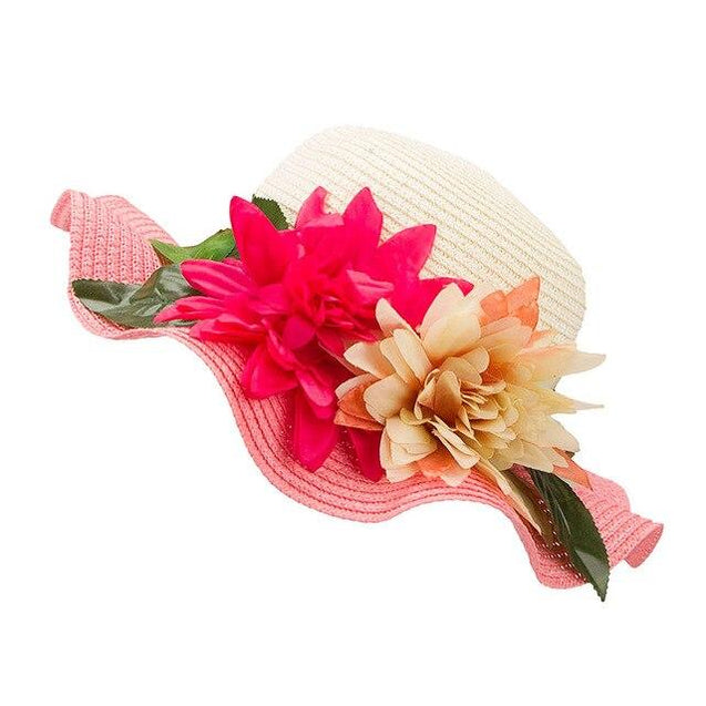 Mother-Daughter Floppy Large Brim Straw Sun Hat with Flowers