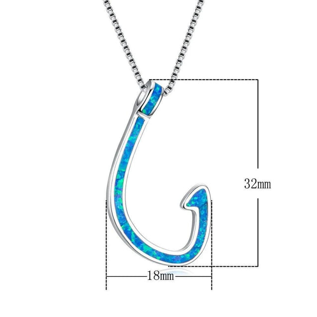 925 Sterling Silver Blue Opal Fish Hook Pendant Necklace
