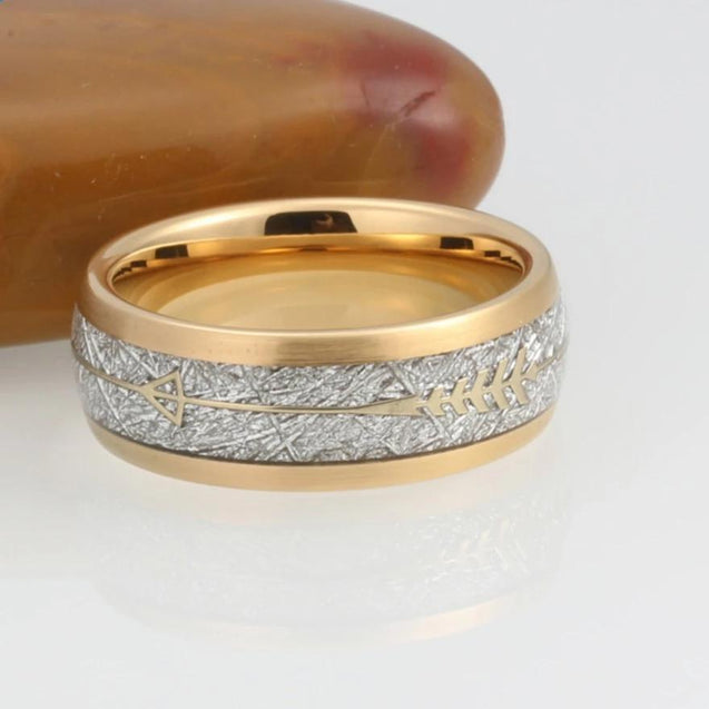 Gold Tungsten Carbide in Meteorite Inlay with Golden Arrow Wedding Band - InnovatoDesign