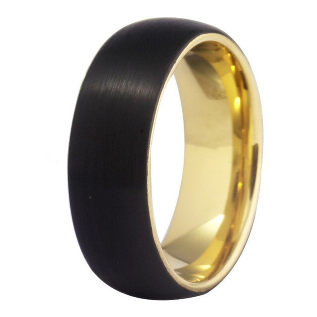 8mm Brushed Matte Black and Gold-Plated Tungsten Wedding Ring