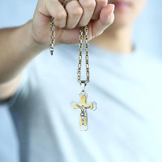 Multilayer Jesus Crucifix Pendant with Byzantine Chain Link Necklace - InnovatoDesign