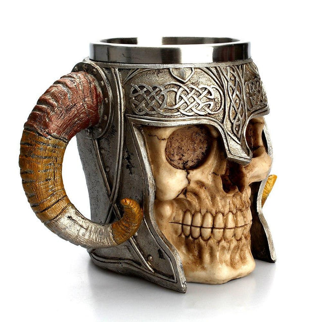 Norse Viking Skull Mug with Horns and Stainless Steel Viking's Helmet - InnovatoDesign