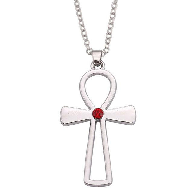 Stainless Steel Silver Ankh Symbol with Crystal Pendant Necklace - InnovatoDesign