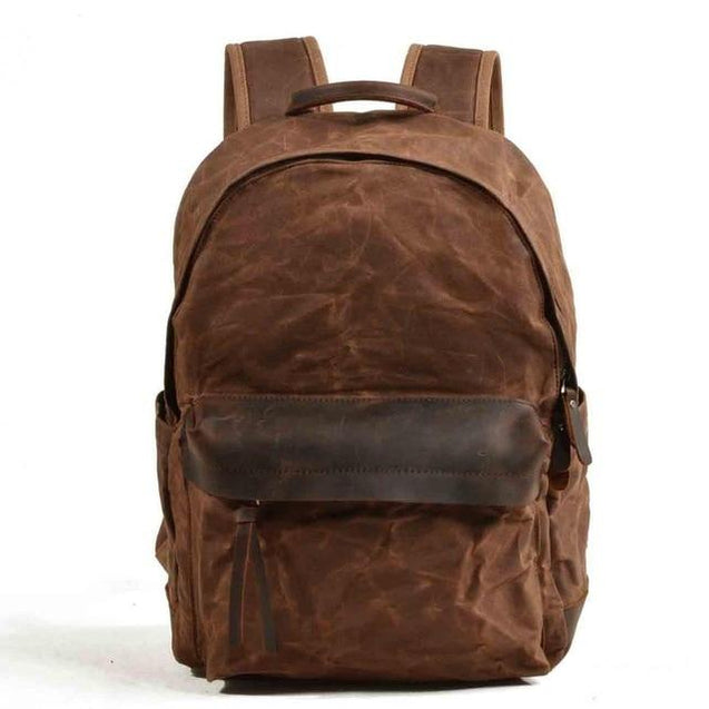 Green and Brown Canvas Leather 20 to 35 Litre Backpack - InnovatoDesign
