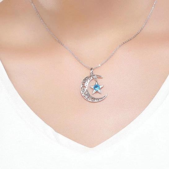 925 Sterling Silver Crescent Moon with Dangling Star Crystal - InnovatoDesign