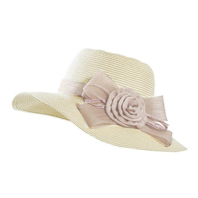 Boho Style Floppy Wide Brim Straw Sun Hat with Big Bows