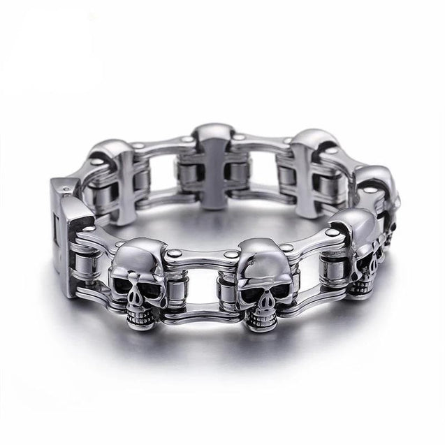 Men's Stainless Steel Biker Skull Motorcycle Chain Bracelet - InnovatoDesign