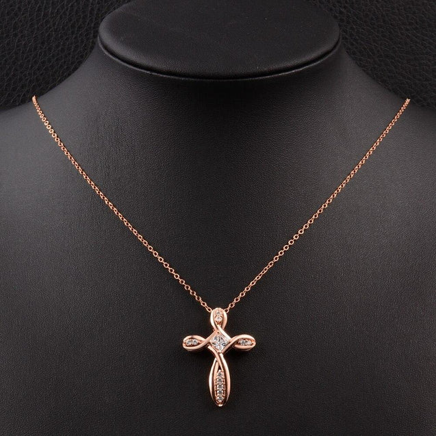 Twisted Knot Cross with Crystals Pendant and Infinity Necklace - InnovatoDesign