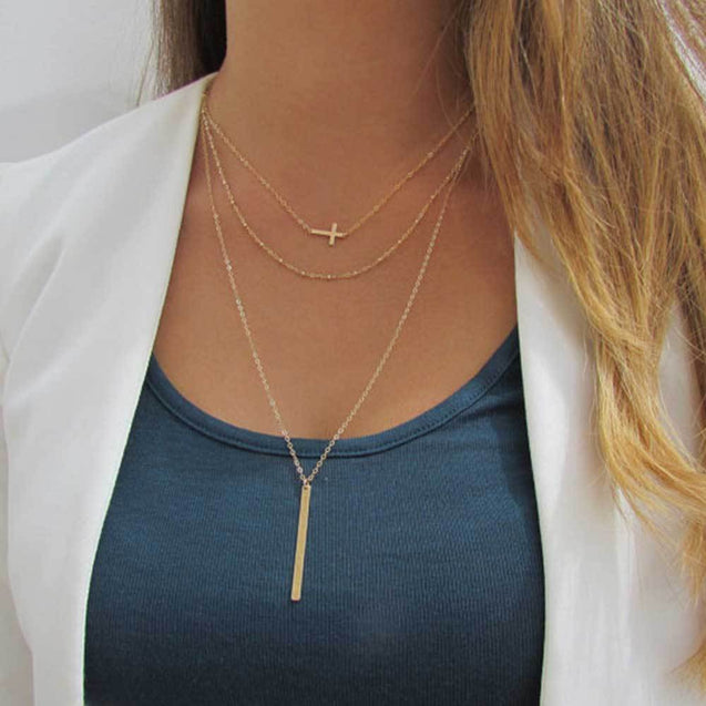 Multilayer Chain Necklace with Horizontal Cross and Long Vertical Plate Pendant - InnovatoDesign