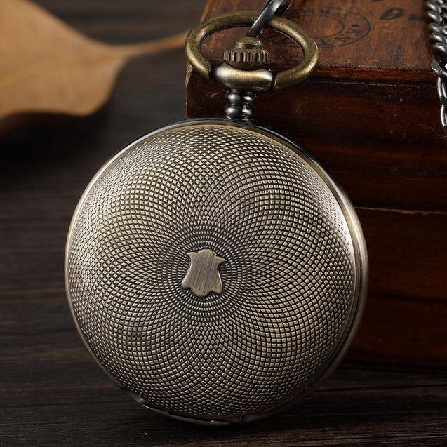 Double-sided Bronze Pocket Watch with Intricate Carved Design - InnovatoDesign