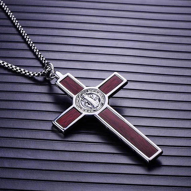 Men's 316L Stainless Steel Wood Cross Pendant Necklace - InnovatoDesign