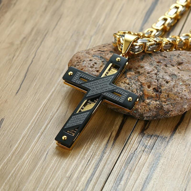 Three Tone Cross Pendant with Punk Byzantine Necklace - InnovatoDesign