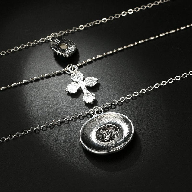 Multi-layer Antique Silver Necklace with 3 Symbolic Pendants - InnovatoDesign