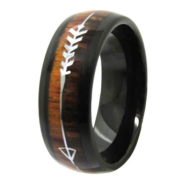 Black Tungsten Carbide in Two-Tone Koa Wood Inlay with Silver Arrow Wedding Band - InnovatoDesign
